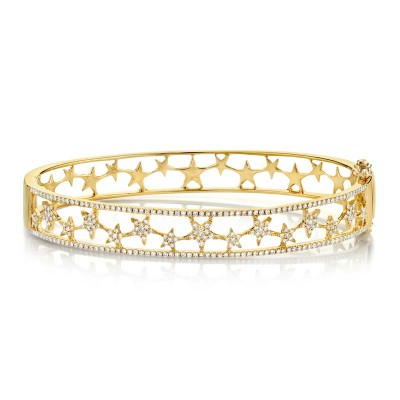 0.72ct 14k Yellow Gold Diamond Star Bangle