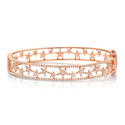0.72ct 14k Rose Gold Diamond Star Bangle