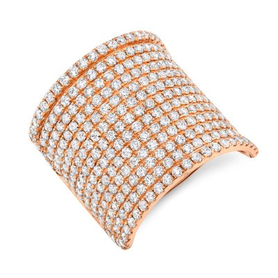 2.86ct 14k Rose Gold Diamond Pave Lady's Ring
