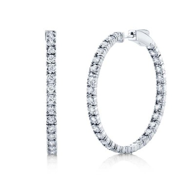 1.90ct 14k White Gold Diamond Hoop Earring