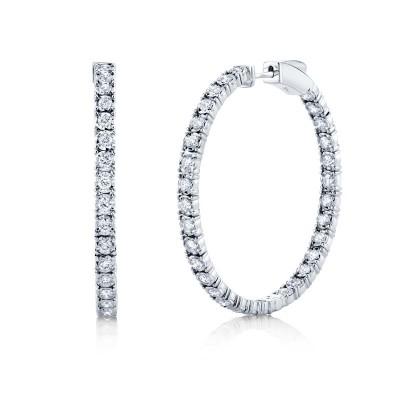 1.90ct 14k White Gold Diamond Hoop Earring