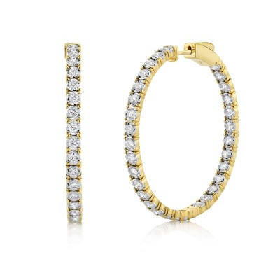 1.90ct 14k Yellow Gold Diamond Hoop Earring