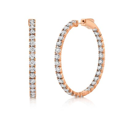 1.90ct 14k Rose Gold Diamond Hoop Earring