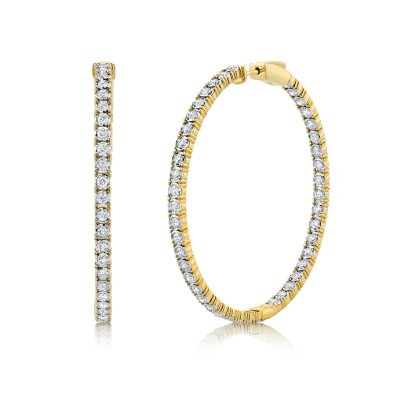 2.65ct 14k Yellow Gold Diamond Hoop Earring