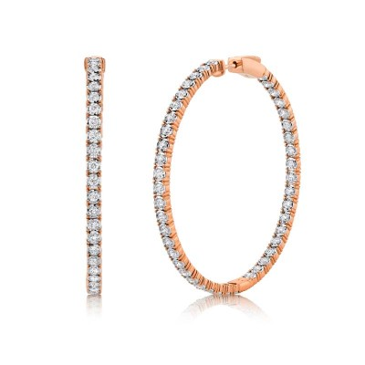 2.65ct 14k Rose Gold Diamond Hoop Earring
