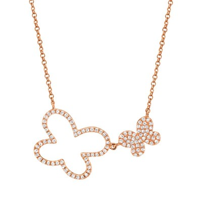 0.25ct 14k Rose Gold Diamond Butterfly Necklace