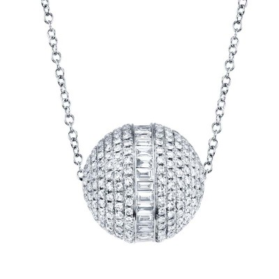 Ct 14k White Gold Diamond Baguette Barrel Necklace