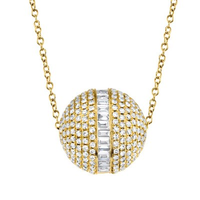 Ct 14k Yellow Gold Diamond Baguette Barrel Necklace