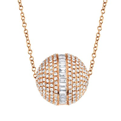 Ct 14k Rose Gold Diamond Baguette Barrel Necklace