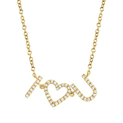 "0.12ct 14k Yellow Gold Diamond ""I Heart U"" Necklace"