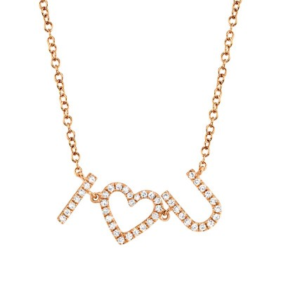"0.12ct 14k Rose Gold Diamond ""I Heart U"" Necklace"