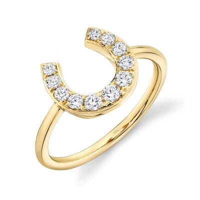 0.36ct 14k Yellow Gold Diamond Horseshoe Ring