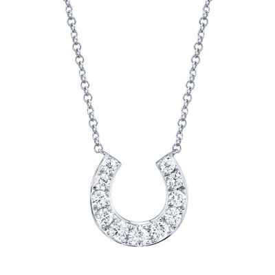 0.36ct 14k White Gold Diamond Horseshoe Necklace