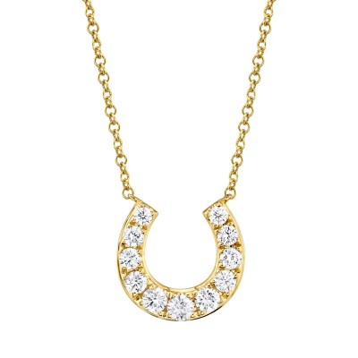 0.36ct 14k Yellow Gold Diamond Horseshoe Necklace