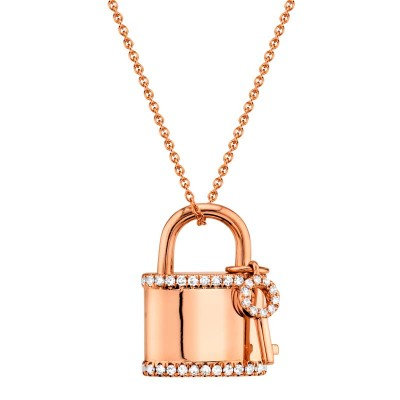 0.21ct 14k Rose Gold Diamond Lock & Key Necklace