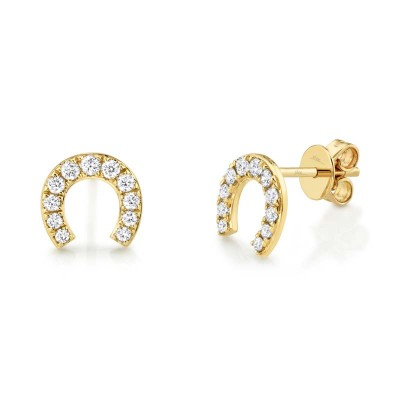 0.32ct 14k Yellow Gold Diamond Horseshoe Stud Earring