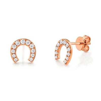 0.32ct 14k Rose Gold Diamond Horseshoe Stud Earring