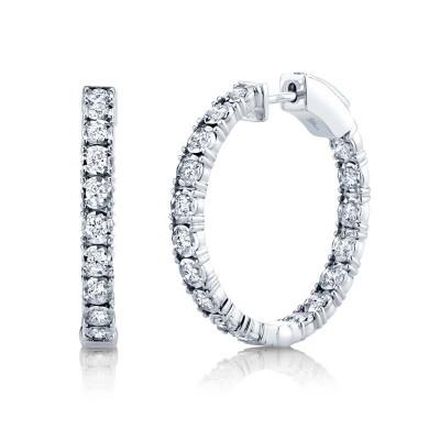 1.06ct 14k White Gold Diamond Hoop Earring