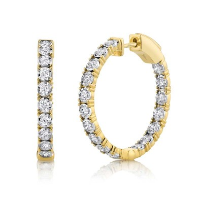 1.06ct 14k Yellow Gold Diamond Hoop Earring