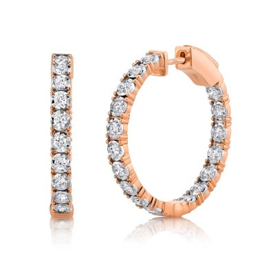 1.06ct 14k Rose Gold Diamond Hoop Earring