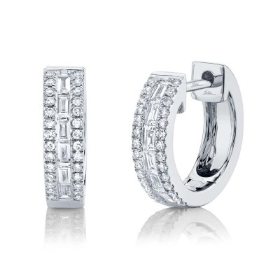0.34ct 14k White Gold Diamond Baguette Huggie Earring