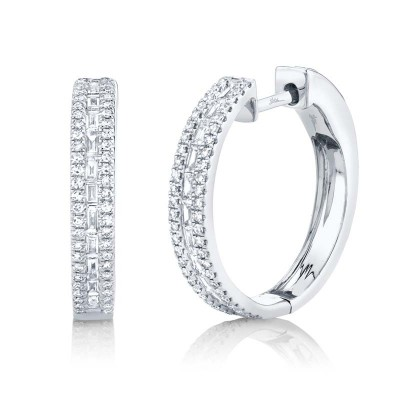 0.58ct 14k White Gold Diamond Baguette Hoop Earring