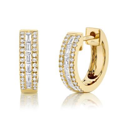 0.34ct 14k Yellow Gold Diamond Baguette Huggie Earring