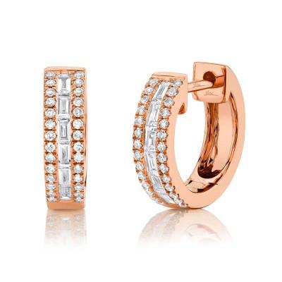 0.34ct 14k Rose Gold Diamond Baguette Huggie Earring