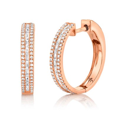 0.58ct 14k Rose Gold Diamond Baguette Hoop Earring