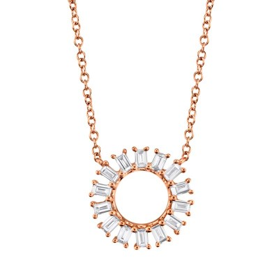 0.26ct 14k Rose Gold Diamond Circle Baguette Necklace