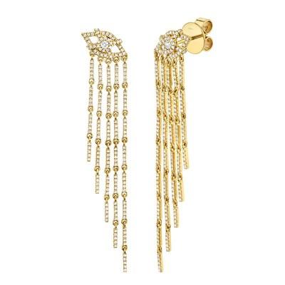 1.05ct 14k Yellow Gold Diamond Eye Fringe Earring