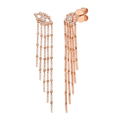 1.05ct 14k Rose Gold Diamond Eye Fringe Earring