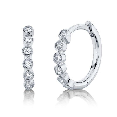 0.11ct 14k White Gold Diamond Huggie Earring