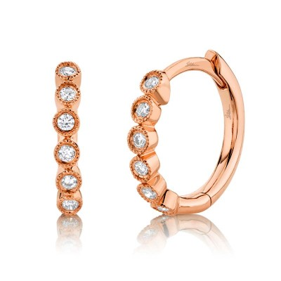 0.11ct 14k Rose Gold Diamond Huggie Earring