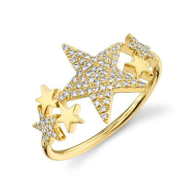 0.19ct 14k Yellow Gold Diamond Pave Star Ring