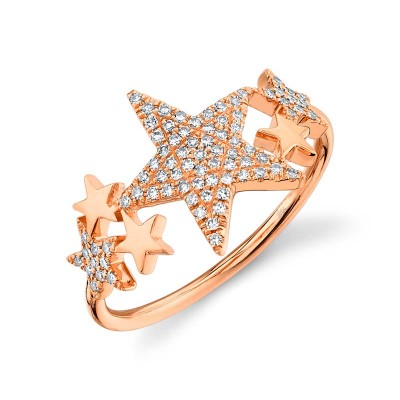0.19ct 14k Rose Gold Diamond Pave Star Ring