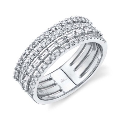 0.81ct 14k White Gold Diamond Baguette Ring