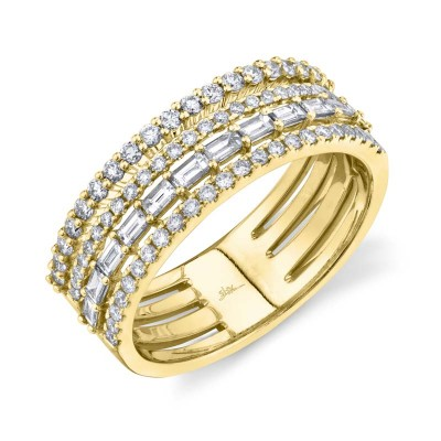 0.81ct 14k Yellow Gold Diamond Baguette Ring