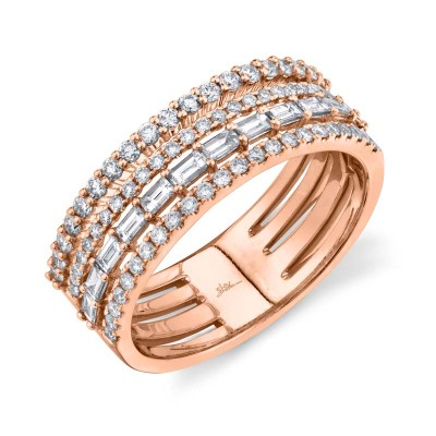 0.81ct 14k Rose Gold Diamond Baguette Ring