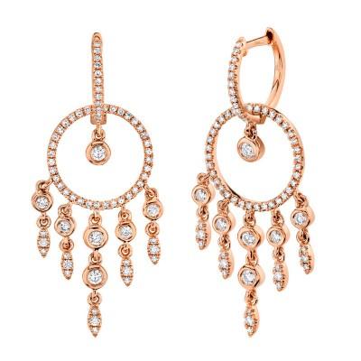 0.62ct 14k Rose Gold Diamond Earring