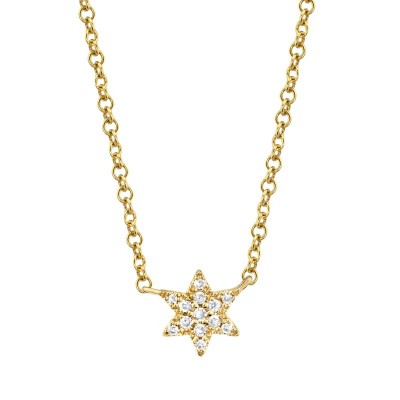 0.03ct 14k Yellow Gold Diamond Star of David Necklace