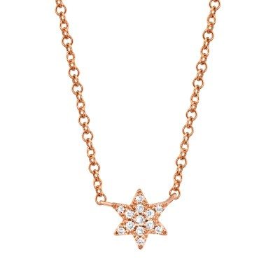 0.03ct 14k Rose Gold Diamond Star of David Necklace