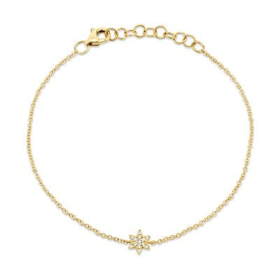 0.03ct 14k Yellow Gold Diamond Star of David Bracelet
