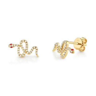 0.13ct Diamond & 0.03ct Ruby 14k Yellow Gold Snake Stud Earring