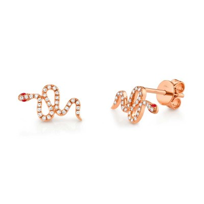 0.13ct Diamond & 0.03ct Ruby 14k Rose Gold Snake Stud Earring