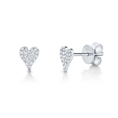 0.10ct 14k White Gold Diamond Pave Heart Stud Earring