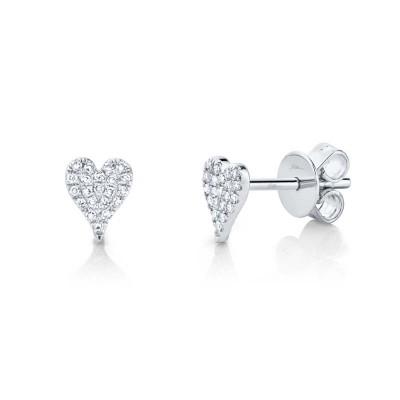0.10ct 14k White Gold Diamond Pave Heart Stud Earring