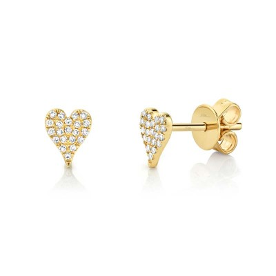0.10ct 14k Yellow Gold Diamond Pave Heart Stud Earring