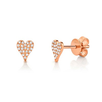 0.10ct 14k Rose Gold Diamond Pave Heart Stud Earring