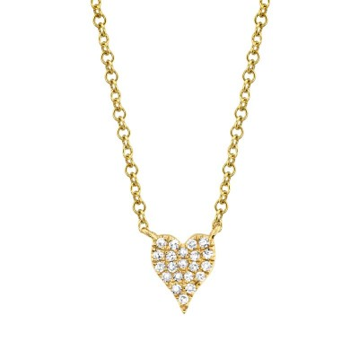 0.05ct 14k Yellow Gold Diamond Pave Heart Necklace